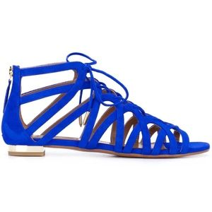 New Aquazzura Ivy Caged Sandals Blue Suede SZ 38